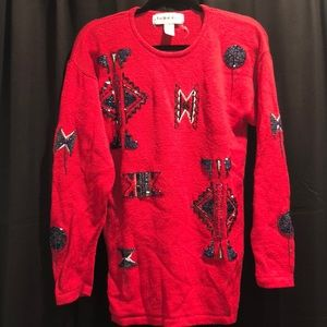 Vintage Red beaded sweater